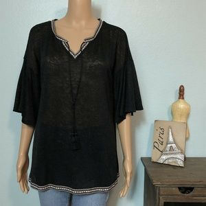 Cato Sheer Loose Knit Beach Cover Up Shirt Top